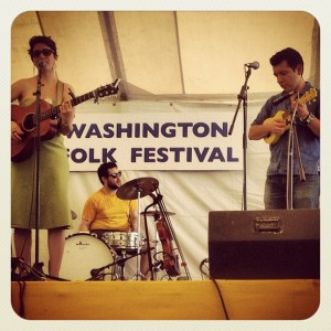 Elena Lacayo, Danny Cervantes, and Andrew Graber at the Washington Folk Festival.